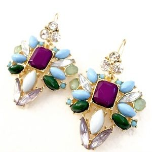 LEE ANGEL Opal Crystal Burst Drop Earrings NWT $70